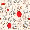 Nahtlose Textur mit Teddybären, Herzen und