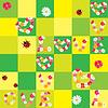 Бесшовный фон с цветочками и сердцами | Векторный клипарт