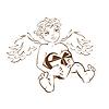 Ángel divertido con el corazón caja de regalo. Boceto para | Ilustración vectorial