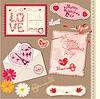 Set Vintage Valentine `s Day Postkarten