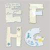 Inglés alfabeto - letras están hechas de papel viejo - | Ilustración vectorial