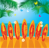 Summer Holiday card - Surfbretter mit Text WILLKOMMEN