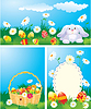 Set of color Easter banners. Easter bunny, basket | Stock Vector Graphics