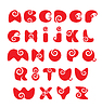 ABC - Englisch Alphabet - red funny Spirale cartoon