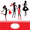 Conjunto de siluetas de las niñas de moda | Ilustración vectorial