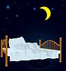 Ungemachtes Bett unter Mond