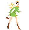 Cartoon Mädchen grünen Mantel