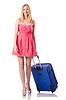 Kobieta będzie wakacjach z walizką | Stock Foto