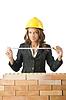 ID 3471622 | Woman Architekten in der Nähe Ziegelmauer | Foto mit hoher Auflösung | CLIPARTO