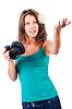 Привлекательная женщина фотограф | Фото