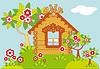 Landschaft mit Haus und blühenden Bäumen | Stock Vektrografik