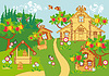 Idyllische Landschaft im ländlichen Raum | Stock Vektrografik