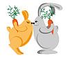 Rabbits beglückwünschen sich gegenseitig in den Urlaub