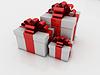 ID 3441112 | White gift boxes with ribbons and bows | Stockowa ilustracja wysokiej rozdzielczości | KLIPARTO