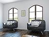 Wohnzimmer mit schwarzen Stühlen | Stock Illustration