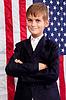 Porträt des Jungen mit der amerikanischen Flagge | Stock Foto