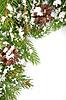 Weihnachts-Rahmen mit Schnee und Zapfen | Stock Foto