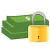 Geld und Vorhängeschloss. Sicherheitskonzept | Stock Vektrografik