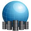 Globe von Ölfässern umgeben | Stock Vektrografik