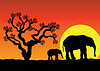 Vector clipart: elephants in africa
