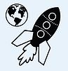 Weltraum-Rakete und Planet Erde
