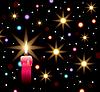 brennende Kerze, Lichtern und Sternen