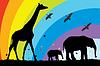 Векторный клипарт: жирафа и слона