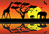 Vector clipart: vector giraffe and elephants in africa