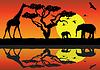 Векторный клипарт: вектор жирафа и слона в Африке