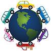 Vektor-Autos um Erdkugel