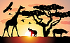 Vector clipart: giraffe, rhinoceros and elephant in africa