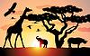 Векторный клипарт: жирафов, носорогов и слонов в Африке