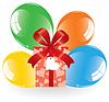Haufen von bunten Luftballons und Geschenk-Box
