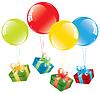 bunte Luftballons und Geschenk-Boxen