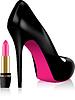Schuh mit hohen Absätzen und Lippenstift