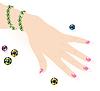 Smaragdgrün Armband auf der Hand Frau | Stock Vektrografik