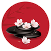 Zen Steine und Kirschblüten
