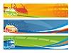 Set von Werbebannern mit zeitgenössischem Transport | Stock Vektrografik