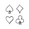 扑克牌的四种花色符号 | 光栅插图