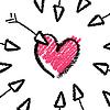 情人节的概念 - 箭头和心脏 | 向量插图