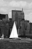 Boat with white sails on Hudson river | Stock Foto