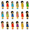 Set von Mädchen Symbole mit bunten Kleidern