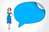 Büro-Mädchen mit Sprechblase | Stock Vektrografik