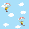Affen mit Fallschirmen | Stock Vektrografik