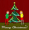 Kids mit Weihnachtsbaum