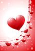 Valentinstag-Karte mit glänzenden Herzen | Stock Vektrografik