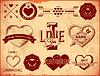 Set von Vintage Valentines Day Etiketten | Stock Vektrografik