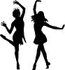 Silhouetten von tanzenden Frauen | Stock Illustration