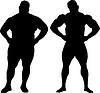 Silhouetten von Bodybuilder und fetter Mann | Stock Illustration