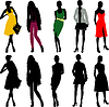 Silhouette fashion girls | Stock Illustration